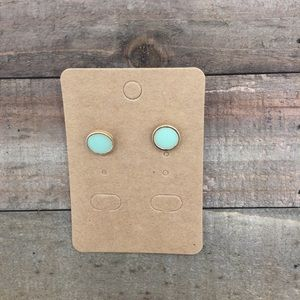 Light Turquoise Round Stud Earrings, Gold Setting